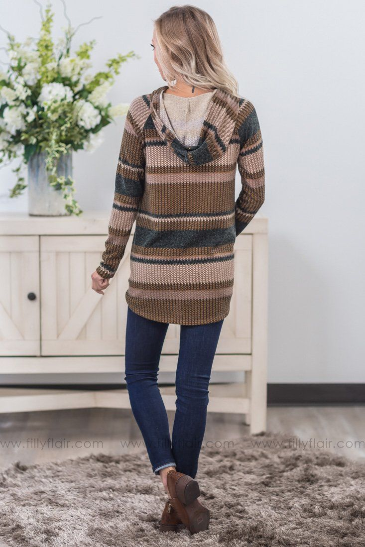 Blissful Night Striped Hooded Sweater in Mustard - Filly Flair