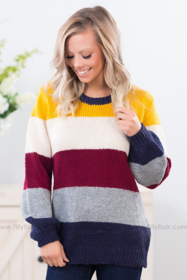*Warm Me Up Long Sleeve Multi Color Sweater In Mustard* - Filly Flair