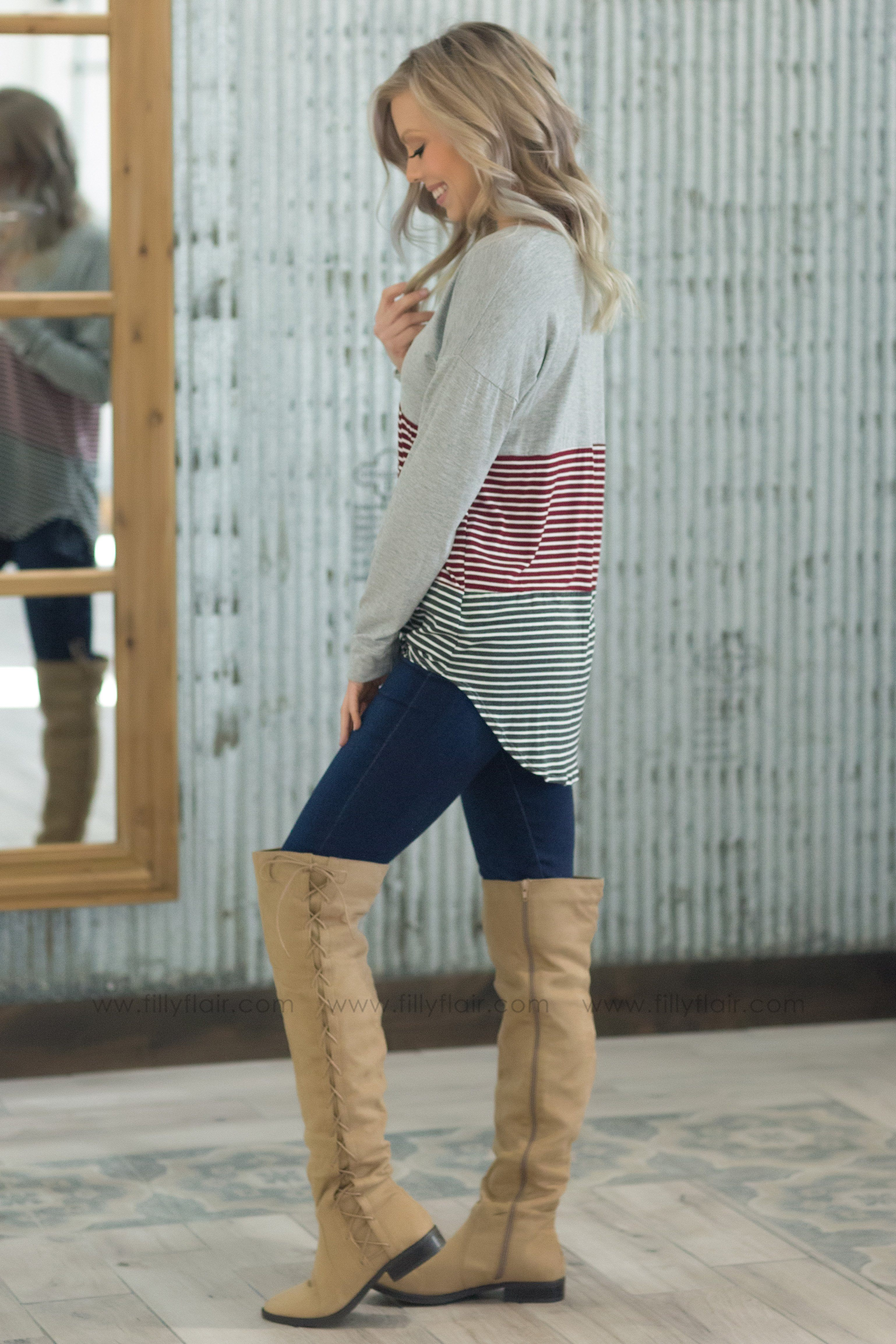 Just Like That Long Sleeve Striped Color Block Tie Top in Burgundy - Filly Flair