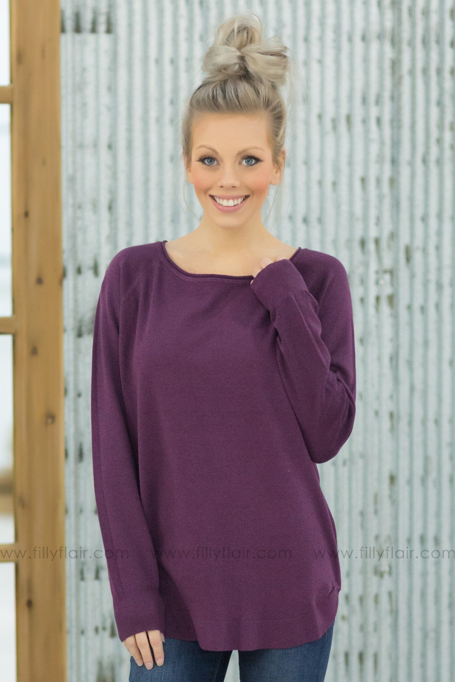 Fall For You Long Sleeve Sweater in Purple* - Filly Flair