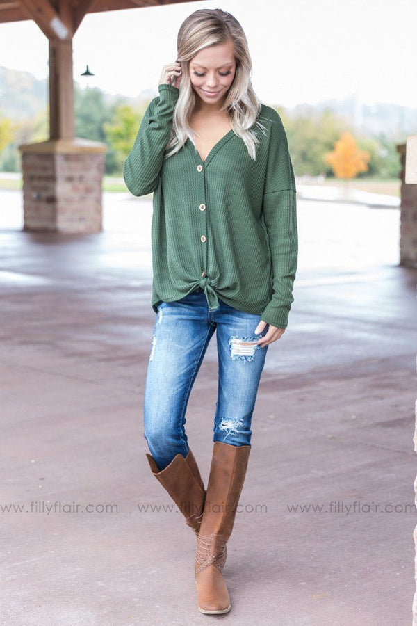 Thermal Nights Button Up Top in Olive - Filly Flair