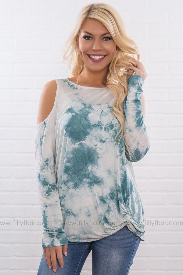 Old School Chic Tie Dye Cold Shoulder Knotted Top In Teal