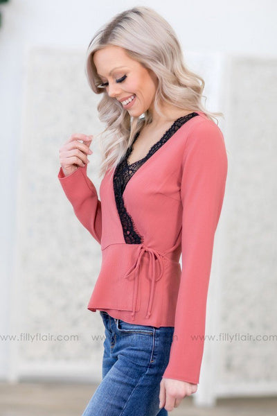 Everything You Wanted Long Sleeve Black Lace Trim Wrap Top in Mauve - Filly Flair