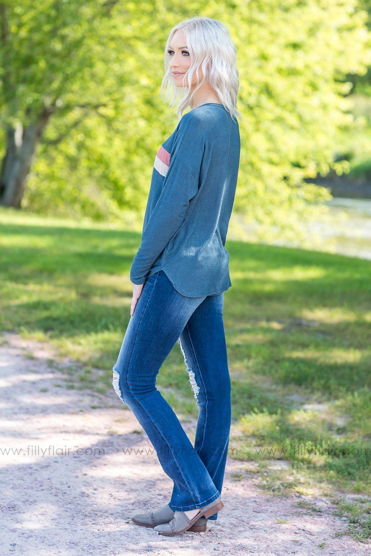 Follow Along Long Sleeve Button Knotted Top In Teal - Filly Flair