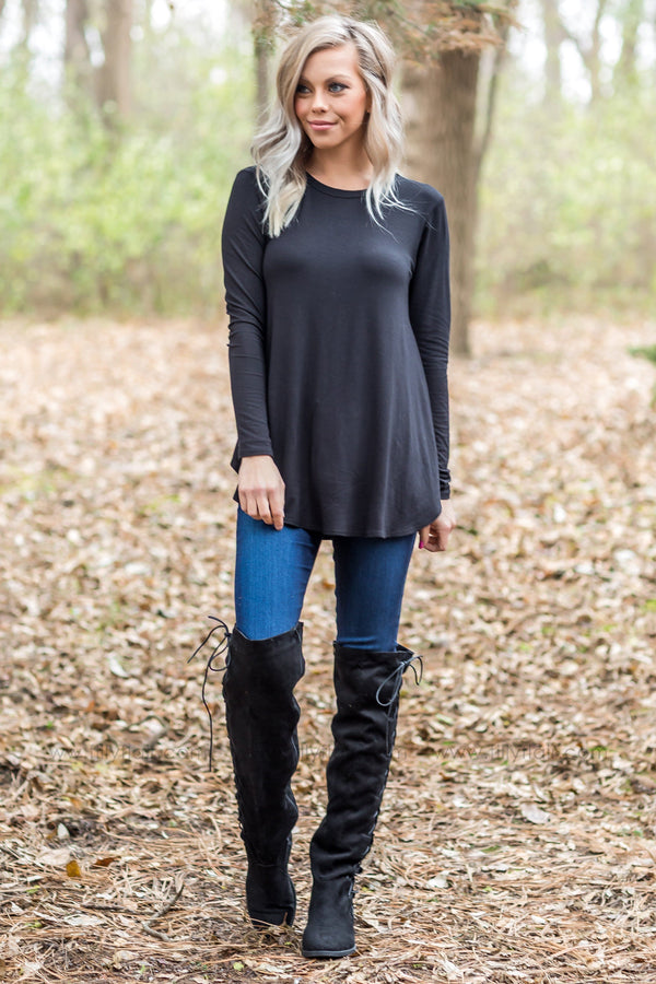 Choose Your Destination Long Sleeve Top In Black - Filly Flair