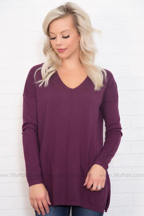 Dusk Till Dawn Pull Over Sweater in Plum