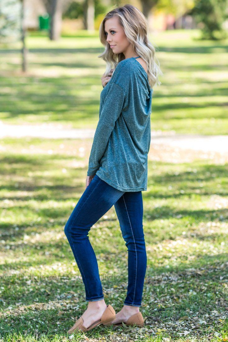 Pure Beauty Twist Back Long Sleeve Top In Hunter Green - Filly Flair