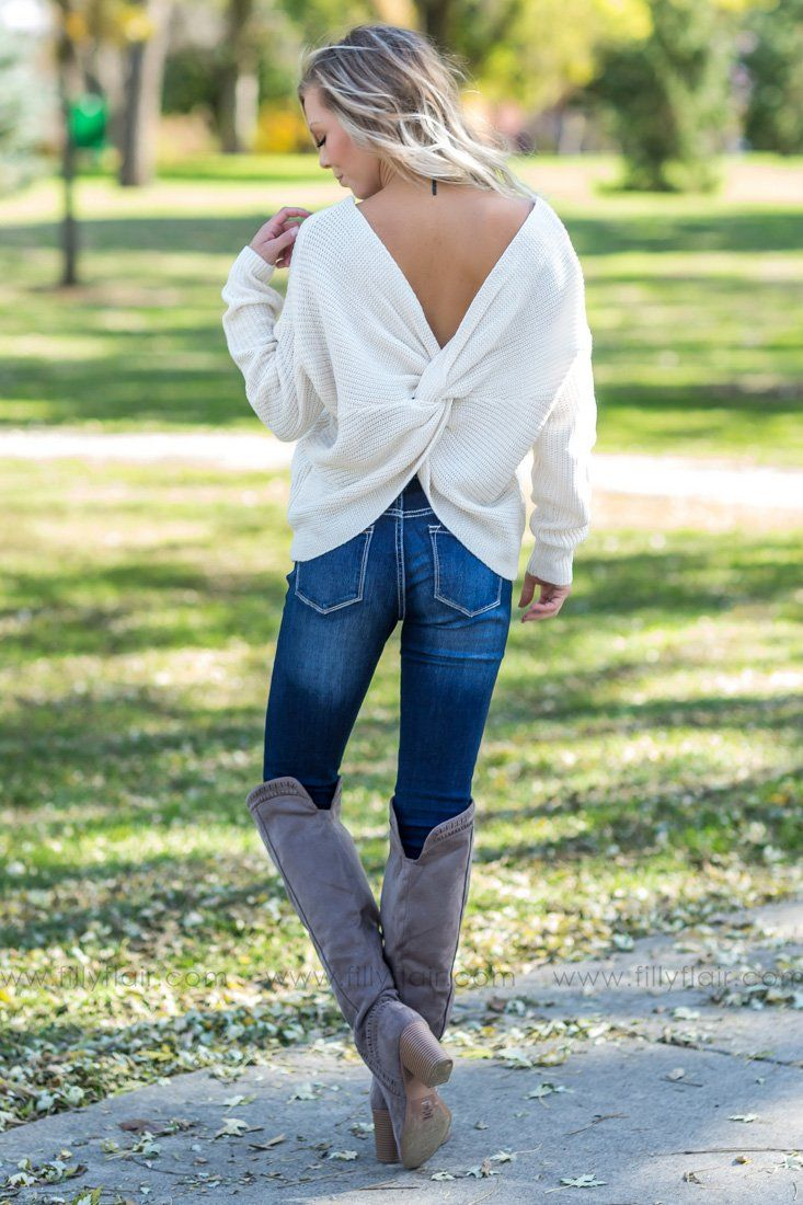 Stay True Twist Back Sweater in Cream - Filly Flair