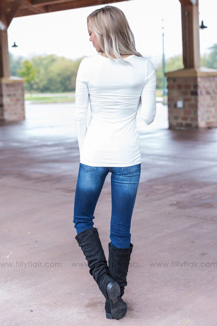 As Simple As That Long Sleeve Basic Top in White - Filly Flair