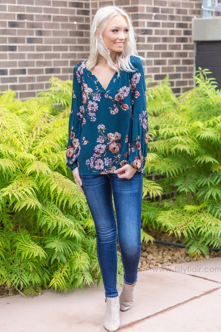 Take My Hand Floral Top In Dark Teal - Filly Flair