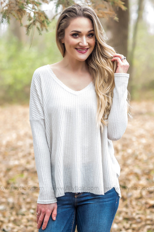 Plain & Simple Waffle V-Neck Top in Cream - Filly Flair