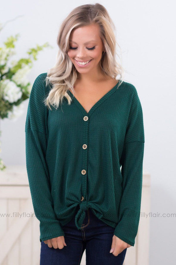 *Thermal Nights Button Up Top in Hunter Green* - Filly Flair