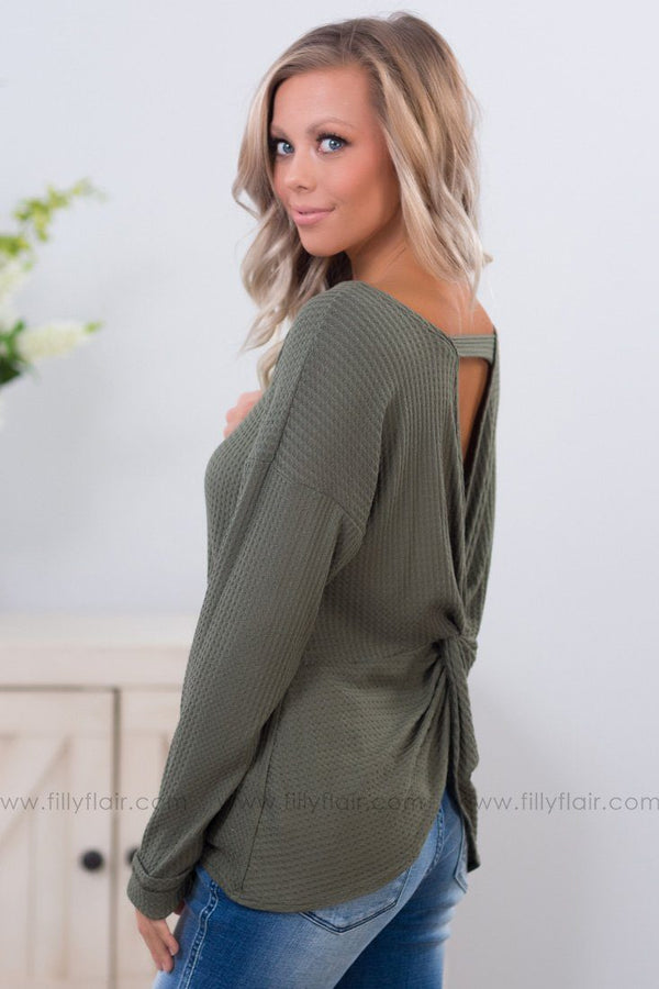 *Do The Twist Long Sleeve Waffle Top in Olive* - Filly Flair