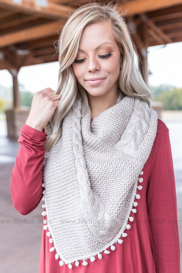 *091418 Keep You Close Knit Pom Pom Infinity Scarf in Beige - Filly Flair
