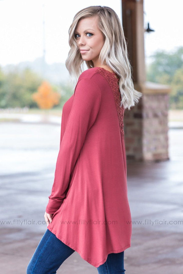 *Never Goodbye Lace Criss Cross Back Tunic in Brick* - Filly Flair