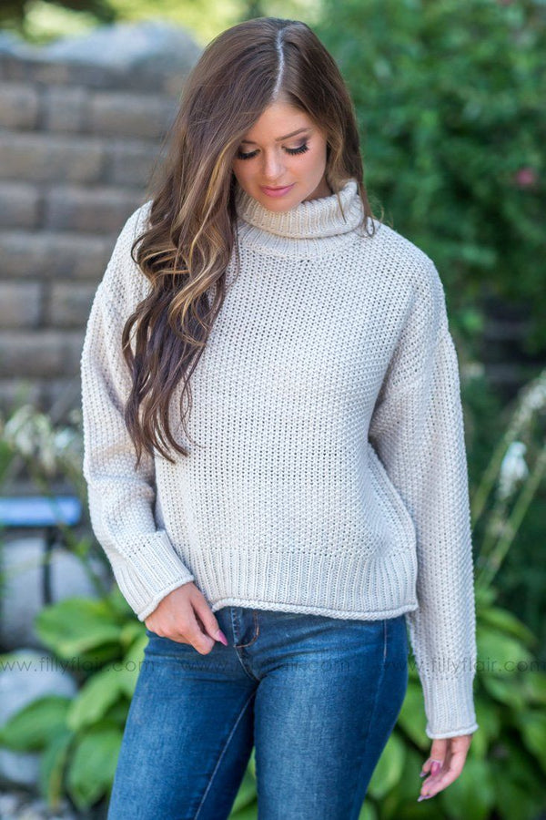 *091118 Easy Going Beauty Turtle Neck Sweater in Oatmeal - Filly Flair