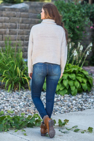 Easy Going Beauty Turtle Neck Sweater in Oatmeal - Filly Flair