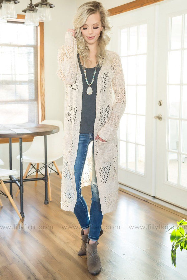 Live For Love Long Pocket Cardigan In Beige