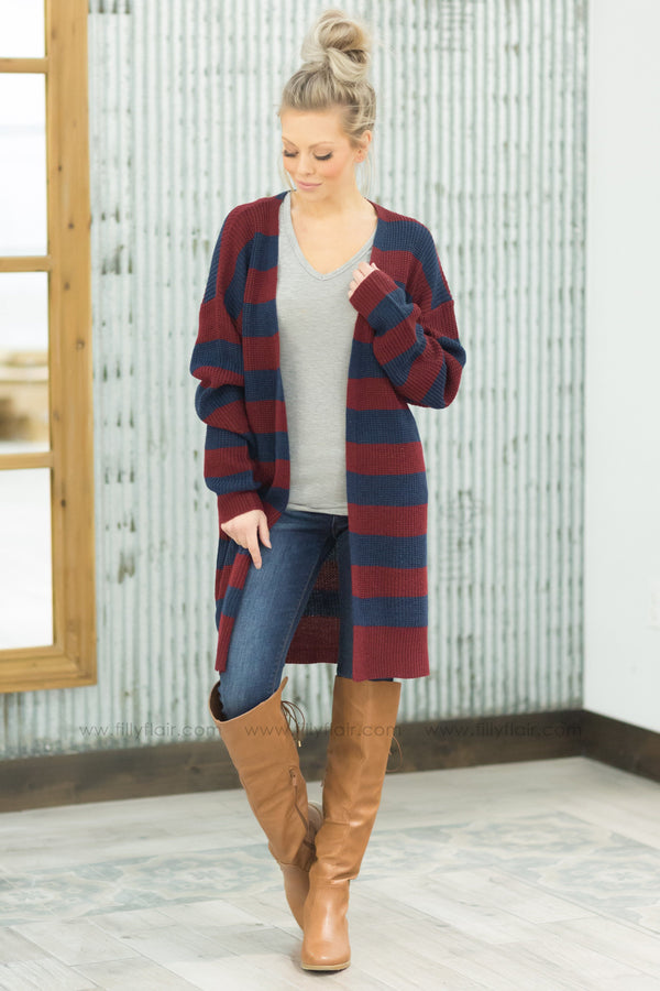 Join Together Striped Sweater Cardigan in Burgundy Navy - Filly Flair