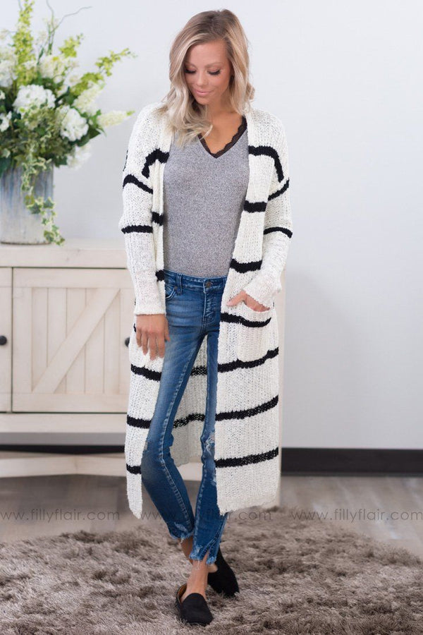 Time After Time Black Stripe Long Sweater Cardigan in White - Filly Flair