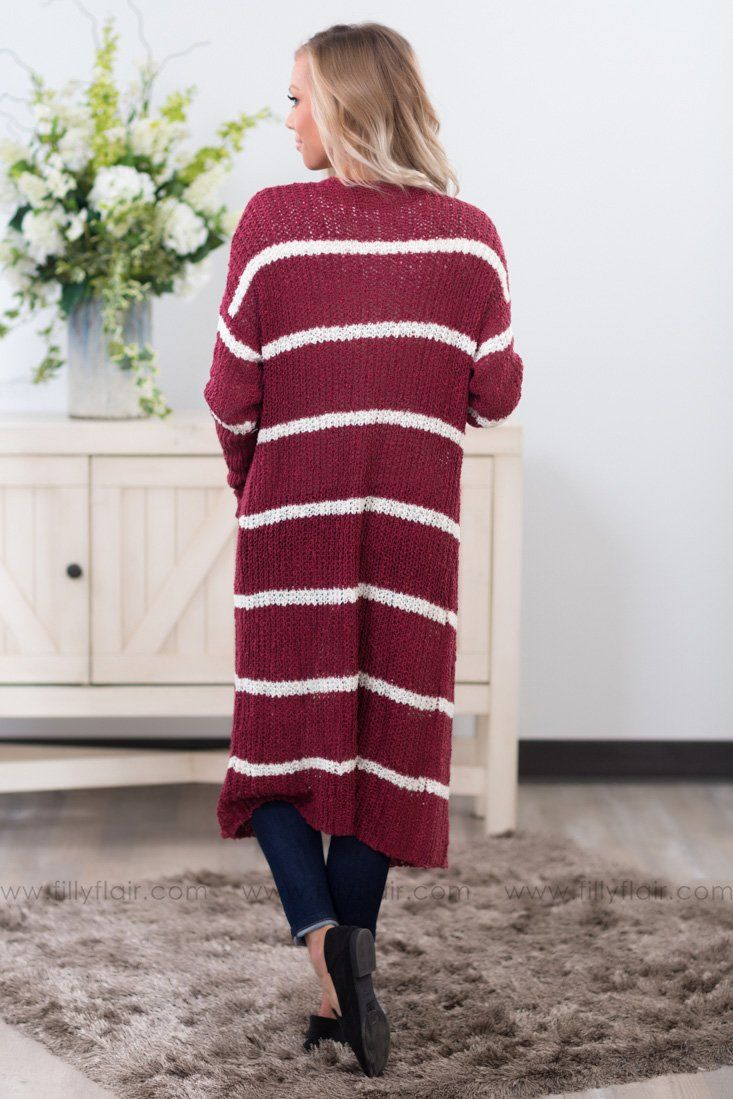 Time After Time White Stripe Long Sweater Cardigan in Burgundy