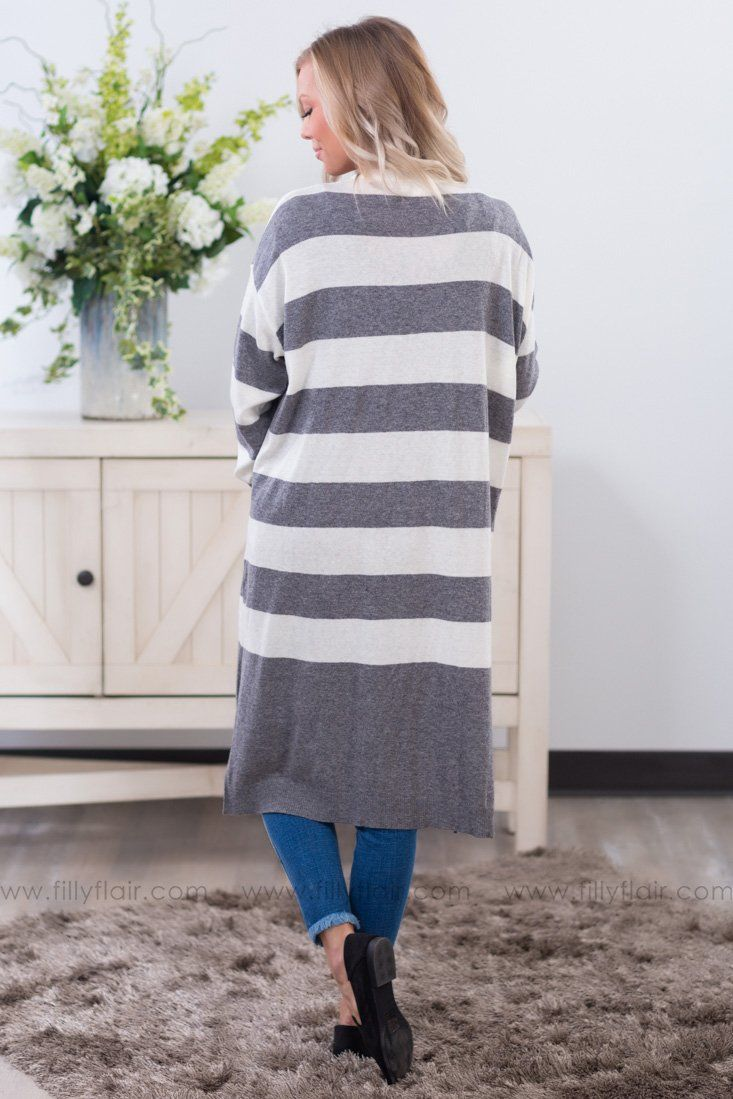 Striped To Perfection Long Cardigan in Grey - Filly Flair