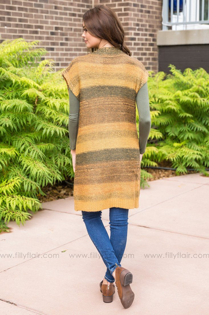 This Is My Time Long Sweater Cardigan In Olive Mustard - Filly Flair