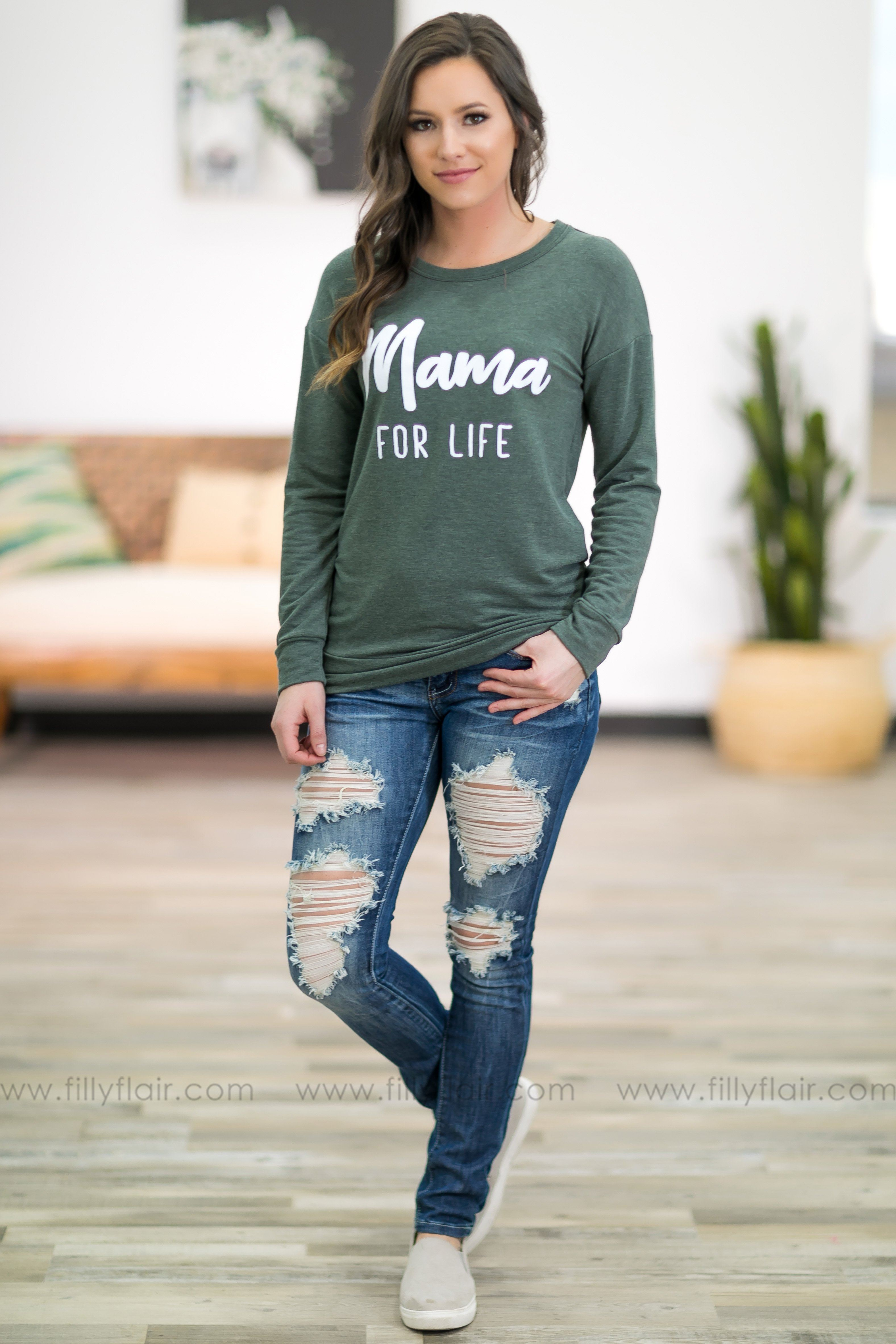 'Mama For Life' Long Sleeve Top in Olive - Filly Flair