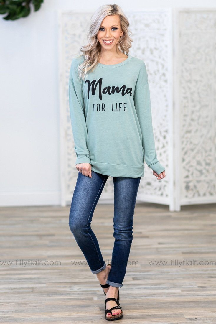 'Mama For Life' Long Sleeve Top in Mint - Filly Flair