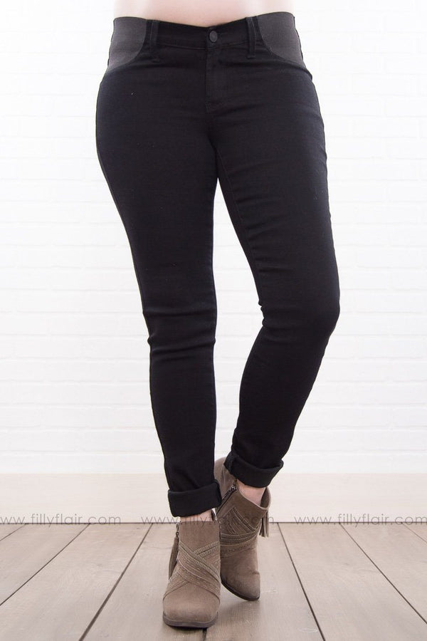 Maddie Maternity Black Skinny KAN CAN Jeans