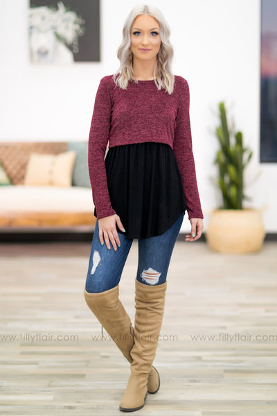 When You Smile Long Sleeve Maternity Top in Burgundy Black - Filly Flair