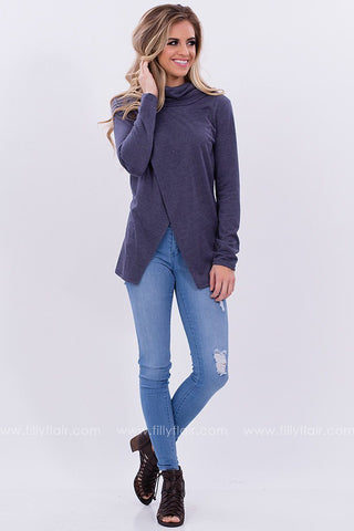Cowl Neck Sweater in Grey