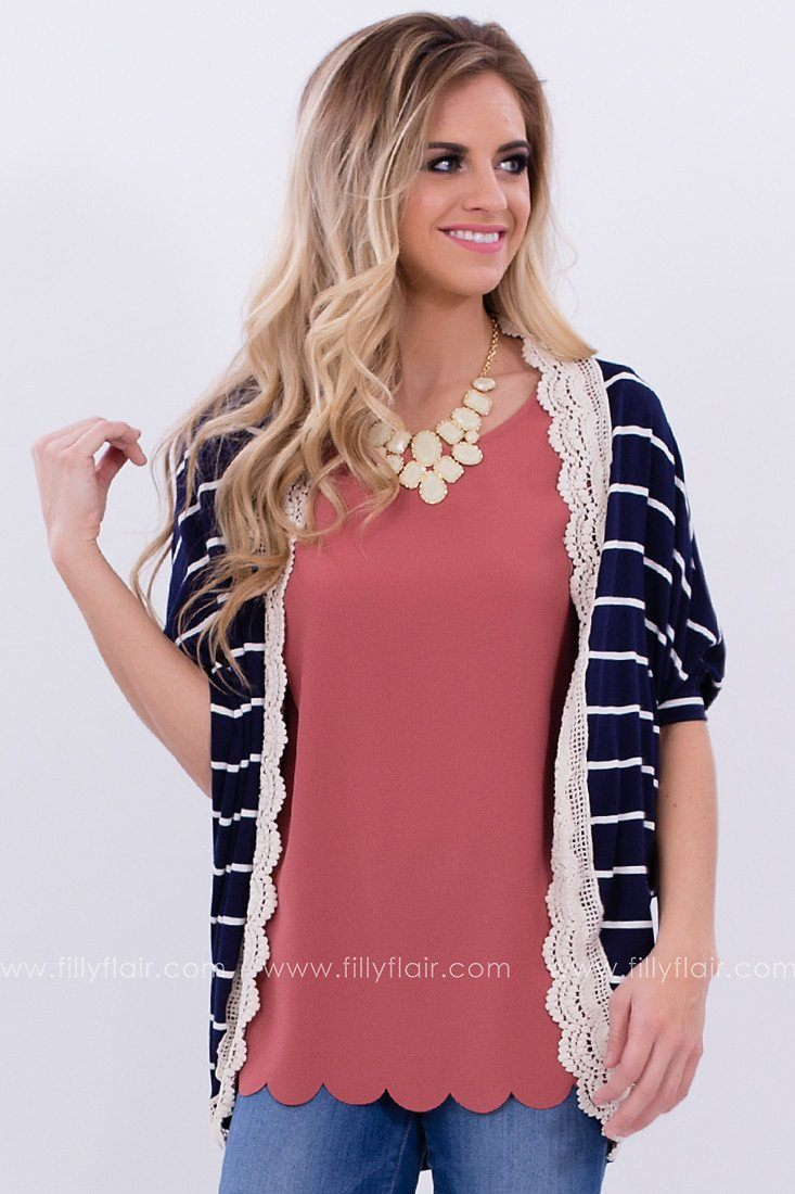 Feels Like Home Navy and White Cardigan: Exclusive