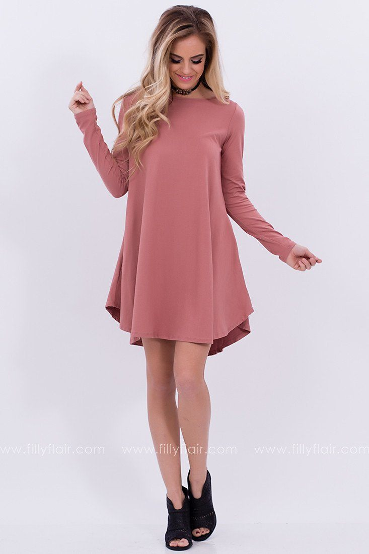 Always Discovering Shift Dress in Dusty Rose