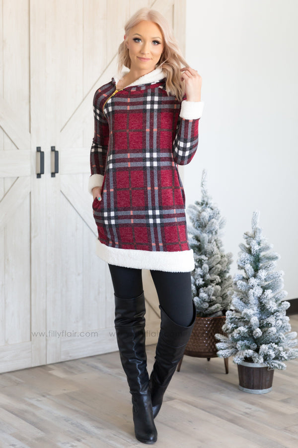 The Nice List Plaid Fuzzy Trim Hooded Tunic In Burgundy White