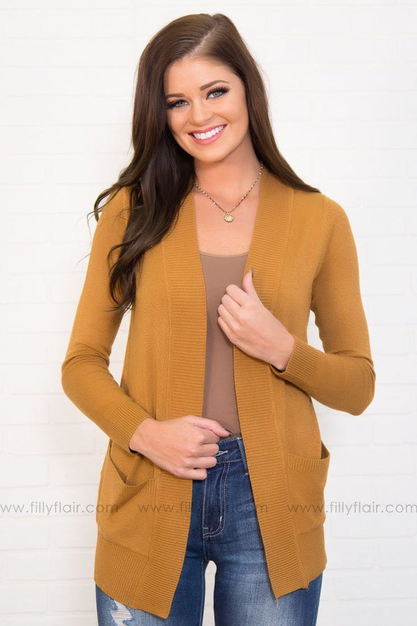 Soft as Ever Cardigan in Mustard