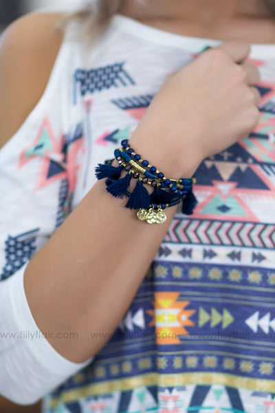 Stuck On Me Beaded Layered Tassel Bracelet in Navy - Filly Flair