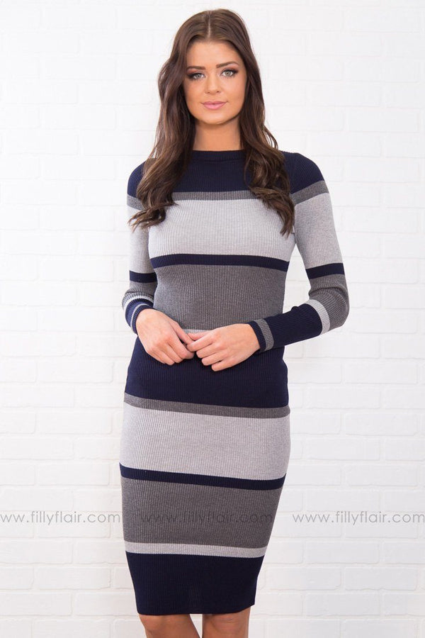 Striped To Perfection Long Sleeve Dress In Navy