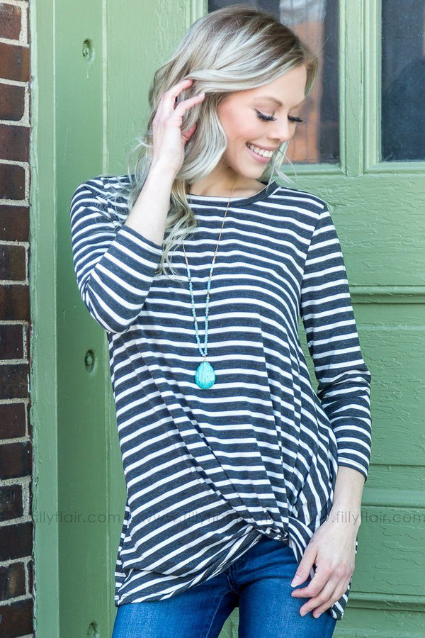 Stay Awhile 3/4 Sleeve Striped Knotted Top In Charcoal