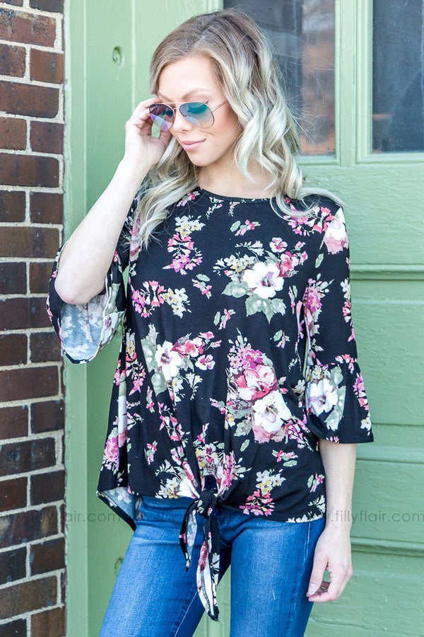 Over My Head Floral Bell Sleeve Tie Hem Top In Black