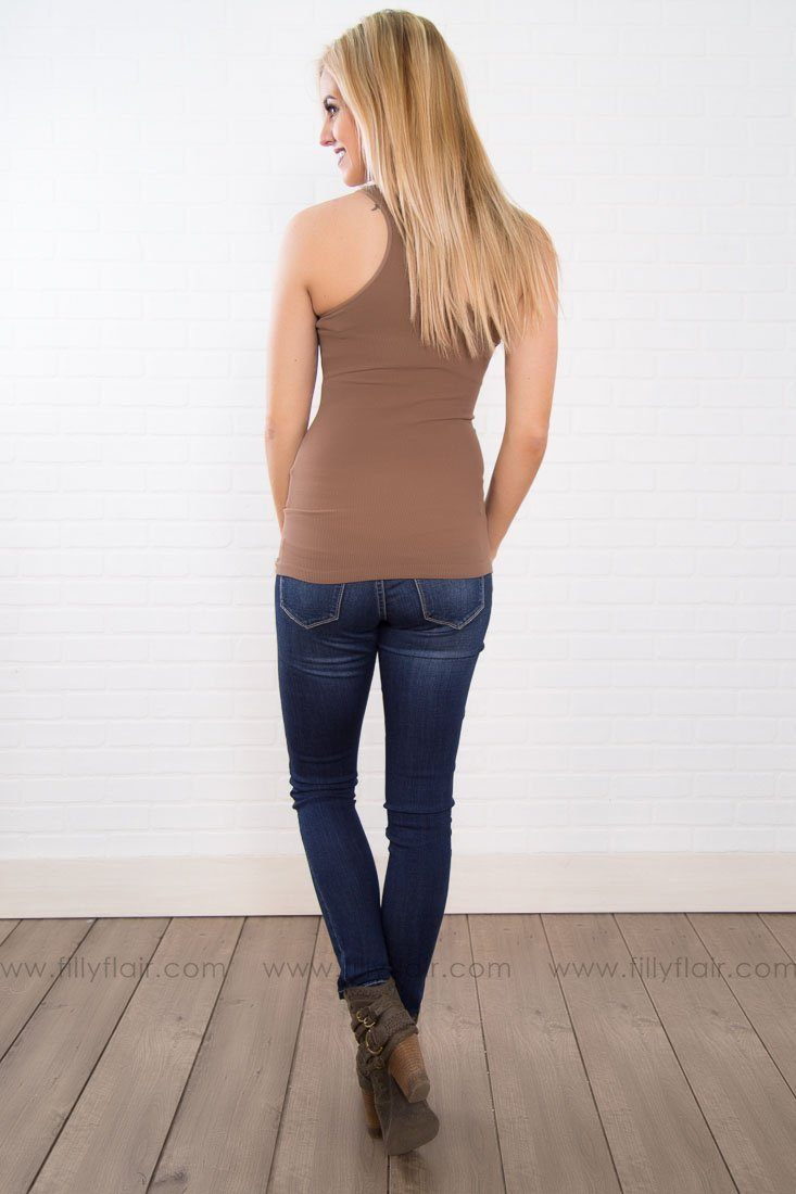NikiBiki Seamless Racerback Tank in Brown