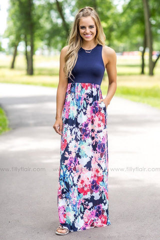The Journey Floral Print Maxi Dress in Blue