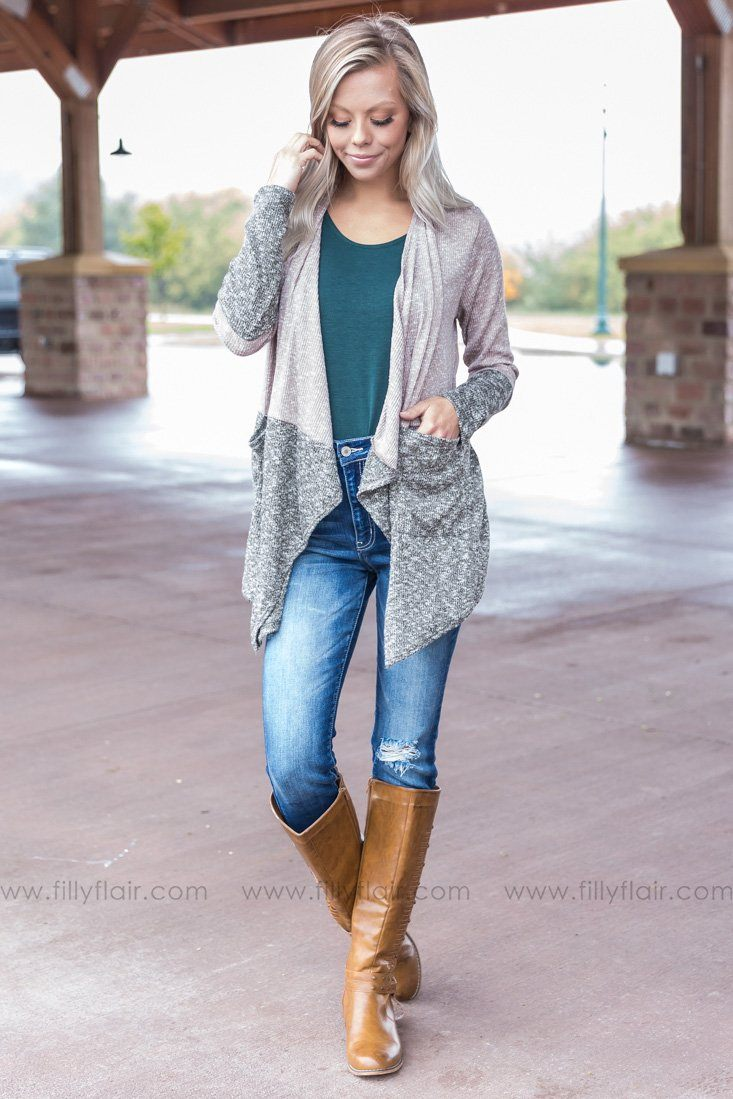It Starts Now Color Block Waterfall Cardigan in Olive - Filly Flair
