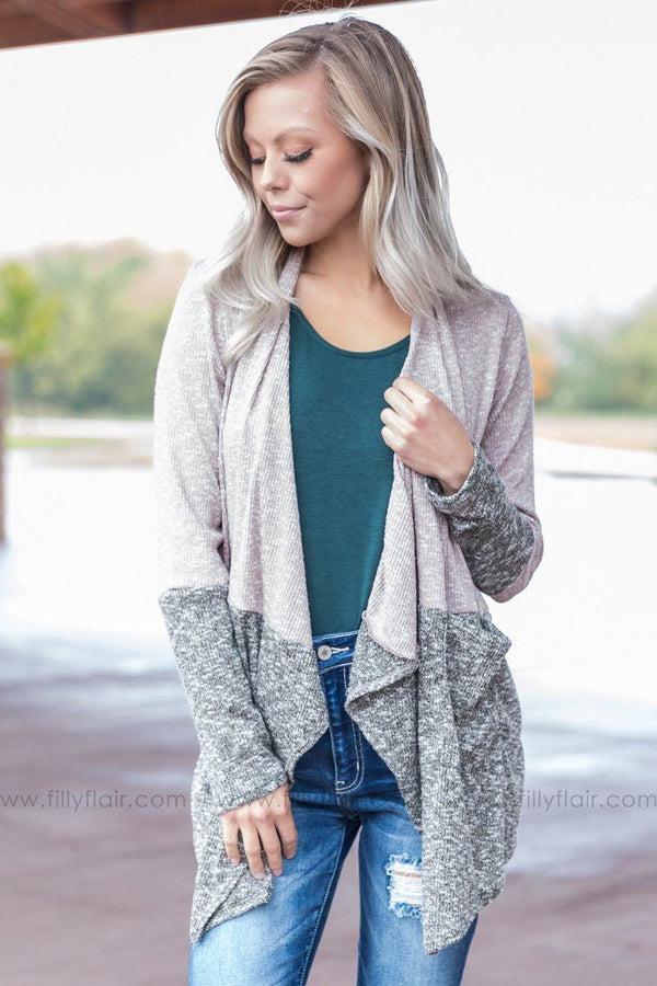 *It Starts Now Color Block Waterfall Cardigan in Olive* - Filly Flair