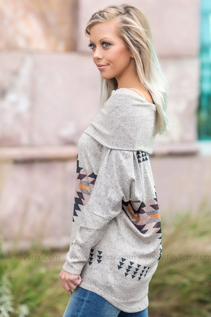 Real Love Aztec Cowl Neck Top - Filly Flair