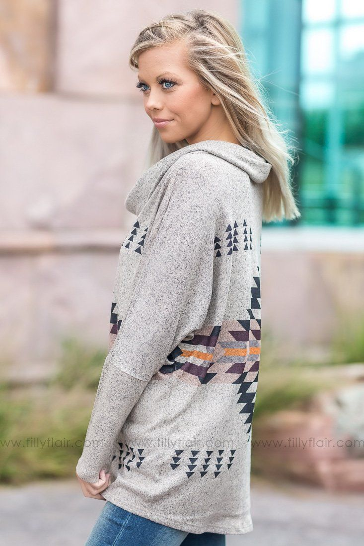 Pre-Order Real Love Aztec Cowl Neck Top - Filly Flair