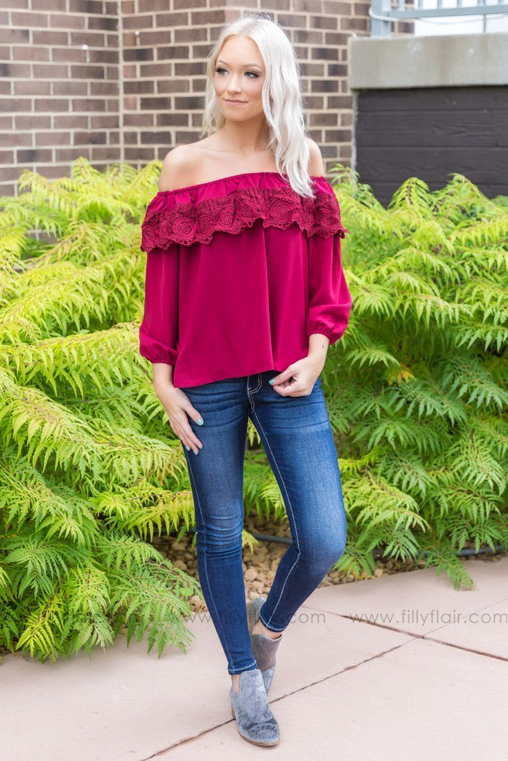 So Into You Off the Shoulder Top in Burgundy - Filly Flair