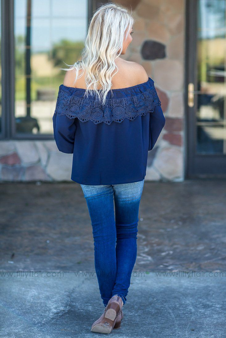 So Into You Off the Shoulder Top In Navy - Filly Flair