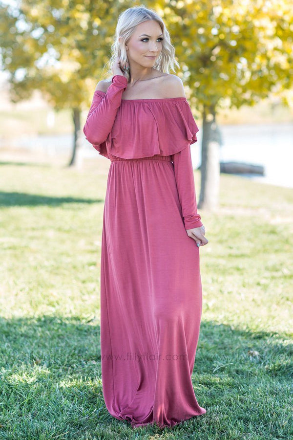 Joy In The Journey Off The Shoulder Maxi Dress in Mauve - Filly Flair