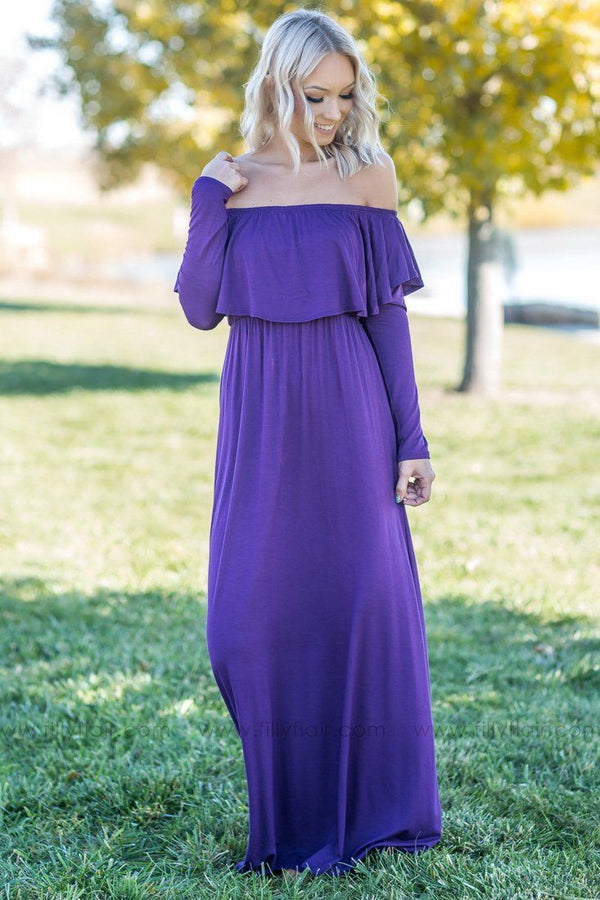 Joy In The Journey Off The Shoulder Maxi Dress In Purple - Filly Flair